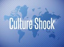 Culture shock sign illustration design. Over a world map background Royalty Free Stock Images