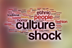 Culture shock word cloud with abstract background vector illustration