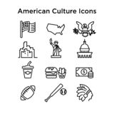 12 Culture Signs of the USA Line Vector Icons .EPS 10. Vector Outline Icons of American Culture.Sport, architecture, food and buildings. For web and print usage stock illustration