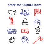 12 Culture Signs of the USA Line Vector Icons .EPS 10. Vector Outline Icons of American Culture.Sport, architecture, food and buildings. For web and print usage royalty free illustration