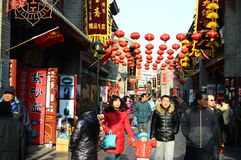 spring festival culture  street. Culture street  Tianjin China decorated with red lanterns at spring festival photoed on january 26th 2014 Royalty Free Stock Image