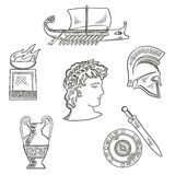 Culture symbols of ancient Greece. Historical and cultural symbols of ancient Greece with emperor in laurel wreath, surrounded by sketches of amphora and soldier Royalty Free Stock Photo