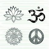 Culture symbols vector set. Lotus, mandala, mantra om and peace signs hand drawn collection. Stock Image
