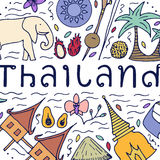 Culture of Thailand. Hand drawn design concept with the main att Stock Photos