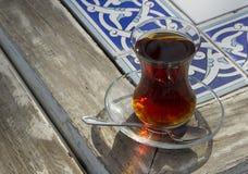 Culture, turco, temperatura, tè, bere, caldo, di vetro, bevanda Fotografie Stock Libere da Diritti