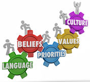 Culture Words People Language Beliefs Values. Culture word on gears and people climbing together with shared language, beliefs, priorities and values Stock Image