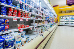 Cultured dairy products aisle in an American supermarket. Cultured milk products, known to mankind since antiquity, play an important role in the American diet Royalty Free Stock Images