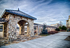 Cultured stone terrace trellis details. Near park in a city Stock Photography