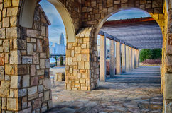 Cultured stone terrace trellis details. Near park in a city Royalty Free Stock Image
