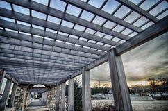 Cultured stone terrace trellis details. Near park in a city Stock Photos