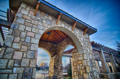 Cultured stone terrace trellis details. Near park in a city Stock Photo