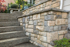Cultured Stone Work on House Front. Cultured stone work on front of house in suburban residential neighborhood Stock Image