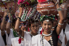 Cultureel programma - Olifantsfestival, Chitwan 2013, Nepal stock afbeelding