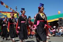 Culturele procesion tijdens festival Ladakh Stock Foto's