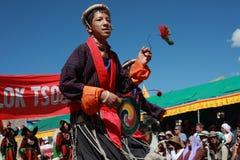 Culturele procesion tijdens festival Ladakh Royalty-vrije Stock Foto's