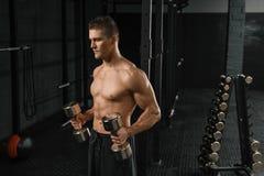 Culturista atletico dell'uomo di potere bello che fa gli esercizi con la testa di legno in una palestra fotografie stock libere da diritti