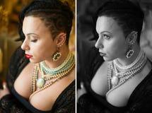 Culturista con le tempie rase, taglio di capelli asimmetrico della ragazza fotografia stock libera da diritti