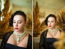 Culturista con le tempie rase, taglio di capelli asimmetrico della ragazza fotografie stock libere da diritti