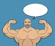 Culturista con los músculos y la burbuja grandes Gente en el estilo del estallido Imagenes de archivo