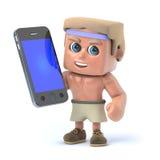 culturista 3d che per mezzo del suo smartphone Immagine Stock
