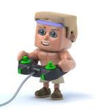 culturista 3d que juega un videojuego stock de ilustración