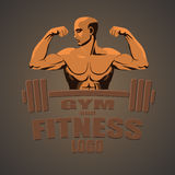 Culturista de la maqueta del logotipo del gimnasio de la aptitud que muestra el bíceps Imagen de archivo libre de regalías
