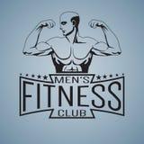 Culturista de la maqueta del logotipo del gimnasio de la aptitud que muestra el bíceps resumido Imagenes de archivo
