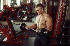 Culturista del hombre fuerte en un gimnasio que ejercita con un barbell Imagen de archivo libre de regalías