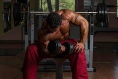 Culturista descamisado que hace el ejercicio pesado para el bíceps Fotografía de archivo
