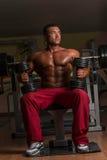 Culturista descamisado que presenta con pesa de gimnasia en el banco Fotos de archivo libres de regalías