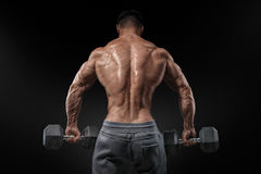 Culturista fuerte que hace ejercicios con las pesas de gimnasia dadas vuelta detrás Fotografía de archivo