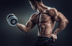 Culturista fuerte y del poder que hace ejercicios con pesa de gimnasia Fotos de archivo libres de regalías