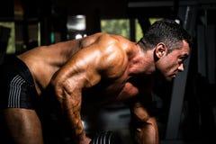 Culturista maschio che fa esercizio pesante per la parte posteriore Immagini Stock