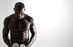 Culturista masculino africano con pesas de gimnasia foto de archivo