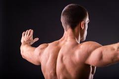 Culturista muscolare dell'uomo Fotografie Stock