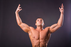 Culturista muscolare dell'uomo Fotografie Stock Libere da Diritti