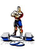 Culturista muscular con el peso Imágenes de archivo libres de regalías