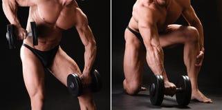 Culturista muscular con pesa de gimnasia Fotos de archivo libres de regalías