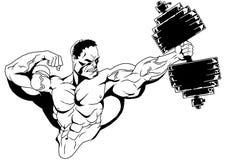 Culturista muscular con pesas de gimnasia Imágenes de archivo libres de regalías