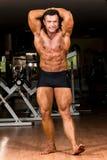 Culturista muscular que muestra su ABS abdominal delantero Fotografía de archivo