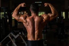 Culturista muscular que muestra su bíceps doble trasero Fotos de archivo