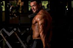 Culturista muscular que muestra su tríceps lateral Imagenes de archivo