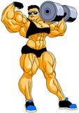 Culturista muscular que presenta con pesas de gimnasia Foto de archivo libre de regalías