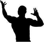 Culturista negro del varón de la parte posterior de la silueta Imagen de archivo libre de regalías
