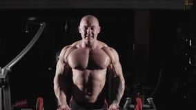 Culturista que hace ejercicio con el barbell en gimnasio Ejercicios para los músculos de bíceps metrajes