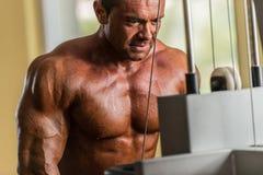 Culturista que hace el ejercicio pesado para el tríceps con el cable Fotos de archivo libres de regalías