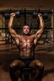Culturista que hace pesa de gimnasia de la pizca de la prensa del hombro Imagen de archivo libre de regalías
