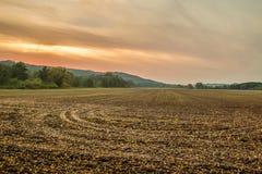 Cultuur van het de herfstgebied met oranje hemel Stock Afbeelding