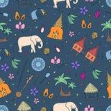 Cultuur van het naadloze patroon van Thailand Hand getrokken ontwerpelementen vector illustratie