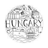 Cultuur van Hongarije Hand getrokken symbolen van Hongarije Vectorronde Stock Fotografie